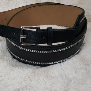 MICHAEL KORS Womens Black and Silver Chain Belt